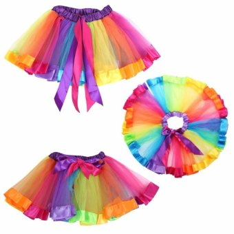 Girls Kid Rainbow Pettiskirt Bowknot Skirt Lovely Ribbons Tutu Skirt Dancewear Fluffy Handmade Party dance Performance Ball gown - intl