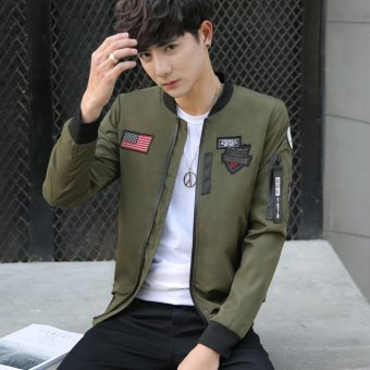 Grandwish Men American flag Patches Jackets Bomber Jackets Casual Coat M-4XL (Army green) - intl