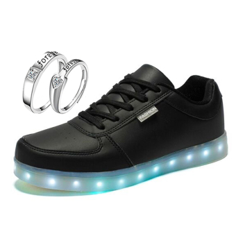 Greatnes D&D SML-01 Unisex Casual Low-uppers LED colorful Shoes (Black) With LX-JZ8814 Lovers Fashion Couple Ring