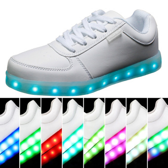 Greatnes D&D SML-01 Unisex Casual Low-uppers LED Colorful Shoes (White)