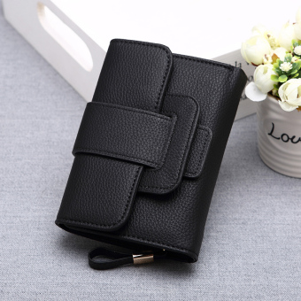 Guojunzhu Japan and South Korea New style long women's leather wallet (Black)