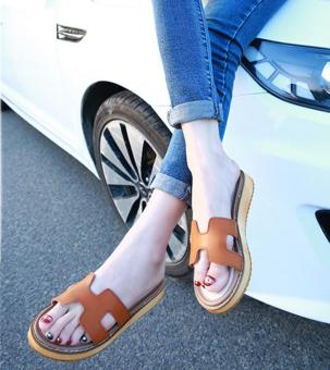 H Shishang leather female outerwear sandals slippers (Brown pure leather)