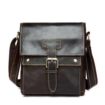 Handmade Men's Leather Messenger Bag Shoulder Bag Ipad Bag Coffee - intl