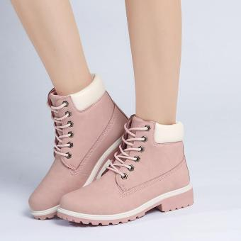Hang-Qiao Fashion Women Ankle Martin Boots Military Combat Shoes Pink