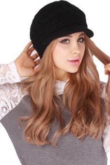 hang qiao warm women knitted beret hat autumn winter cap