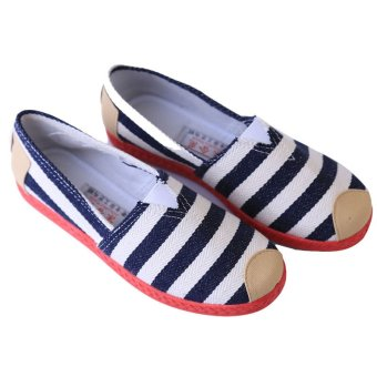 hang qiao womens striped canvas loafers sneakers lazy