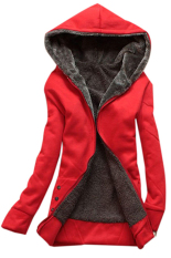 Women's red fleece jacket – Modern fashion jacket photo blog
