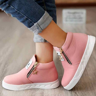 Hanyu Autumn PU Leather Solid Zipper Flat Shoes for Children Pink