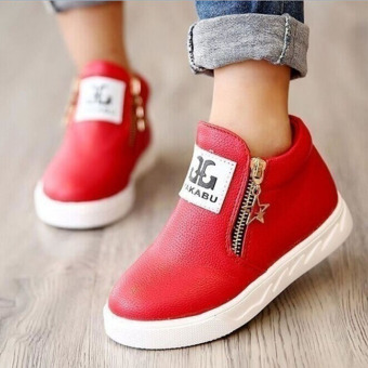 Hanyu Autumn PU Leather Solid Zipper Flat Shoes for Children Red
