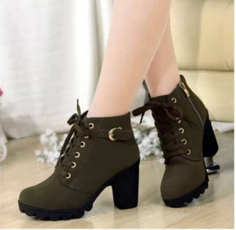 Hanyu Autumn Winter Women Lady PU Leather High Heel Martin Ankle Zipper Boots Shoes Army Green - intl