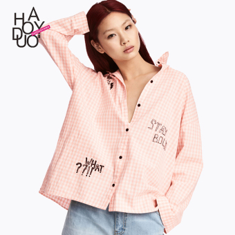 Haoduoyi2017 sweet autumn New style lettered embroidered shirt