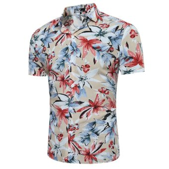Hawaiian Style Floral Casual Shirt Short Sleeve Mens Shirts Khaki - intl