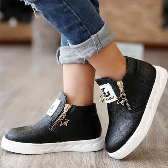 HengSong Children Kids PU Leather Solid Autumn Zipper Flat ShoesBlack