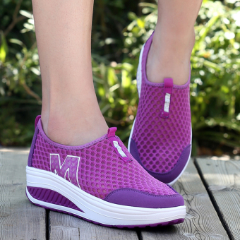 HengSong New Height Increasing Shoes Casual Women Swing Breathable Wedges Shoes Purple - intl