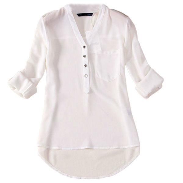 Long Sleeve Multi Color Striped Chiffon Shirt For Women