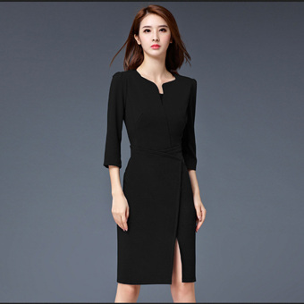 High-end autumn New style v-neck mid-length one-step skirt (Black) (Black)