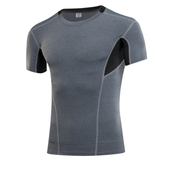 I casual breathable fitness short sleeved t-shirt quick drying clothes (Gray)