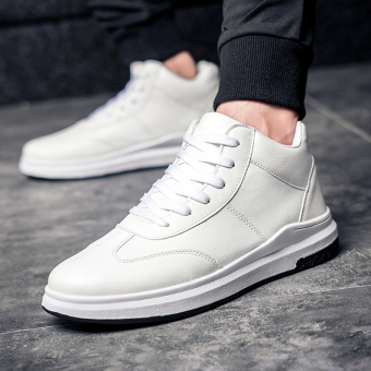 I Korean-style student thick bottomed men's trendy shoes hight-top shoes (White)