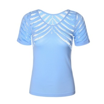 I mesh quick-drying yoga short sleeved blouse T-shirt (Porous sky blue)