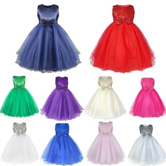 iEFiEL Fashion Kids Girl Wedding Bridesmaids Flower Tulle GirlsParty Pageant Dress Gown (color:Blue) - intl