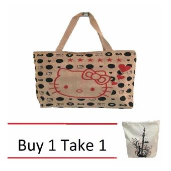 Isabel K001 Trendy Canvas Tote Bag Buy 1 Take 1 (Cat and Guitar)