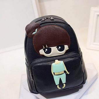 Isabel K047 Trendy Korean Girl Backpack (Black)