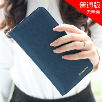 Japan and South Korea female zip student clutch bag women's wallet (Dark blue)