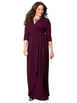 JollyChic Plus Size Solid Color V Neck Maxi Long Dress (Wine Red) - intl