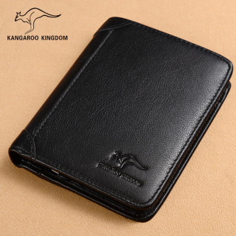 Kangaroo kingdom leather verticle men's wallet (361-118K throw pattern first layer of Leather black)