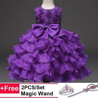 Kids Girls Party Wedding Princess Formal Ball Gown Flower RoseLayer Tutu Dress(Purple) - intl