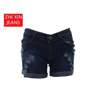 Korea Tattered Classic Ripped Skinny jeans shorts (BLUE)