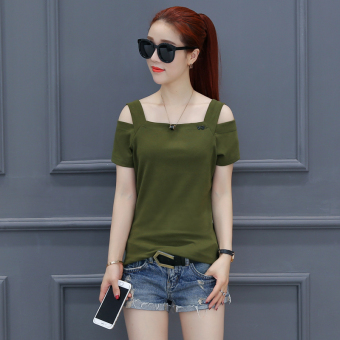 Korean-style autumn New style slimming T-shirt (Dark green color)