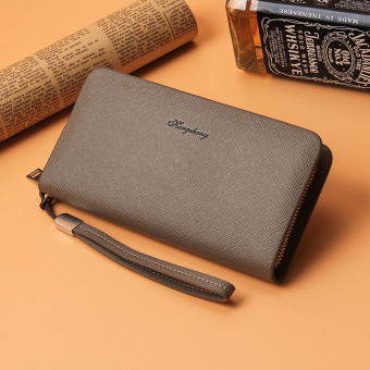 Korean-style business clutch bag long zip wallet (Khaki)