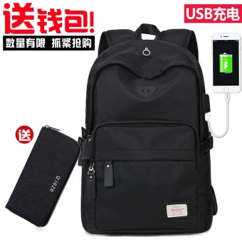 Korean-style campus backpack school bag (Black (USB models + to send wallet))