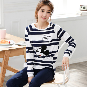 Korean-style cotton women's cotton long-sleeved tracksuit pajamas (Black) (Black)