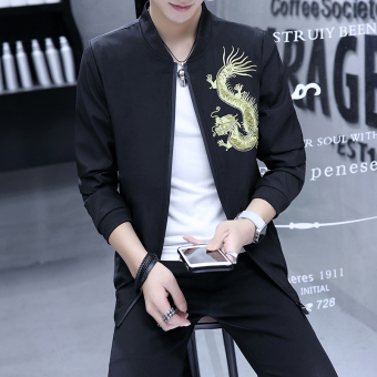 Korean-style embroidery New style spring and autumn jacket shirt men jacket (Embroidered dragon jacket black)