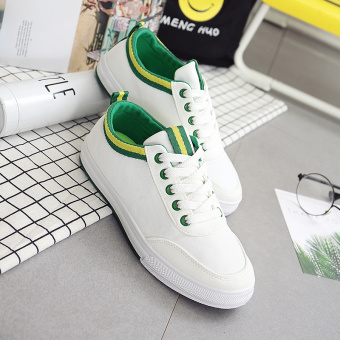 Korean-style female flat breathable sail cloth shoes (White and green) (White and green)