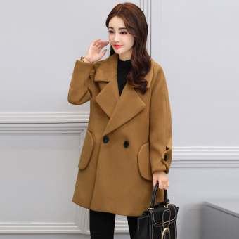 Korean-style female mid-length thick coat Slim fit woolen jacket (Camel)
