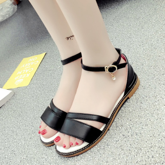 Korean-style female New style flat gladiator sandals (Women's + Black)
