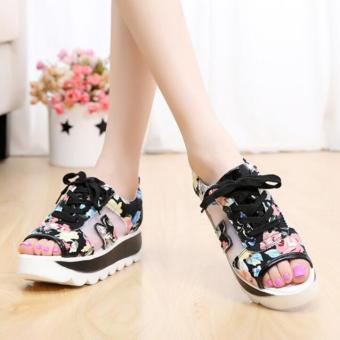 Korean-style female New style flat rocking shoes I sandals (Black)