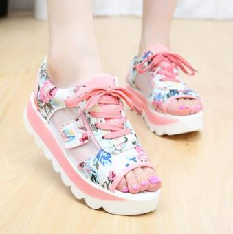 Korean-style female New style flat rocking shoes I sandals (Pink)