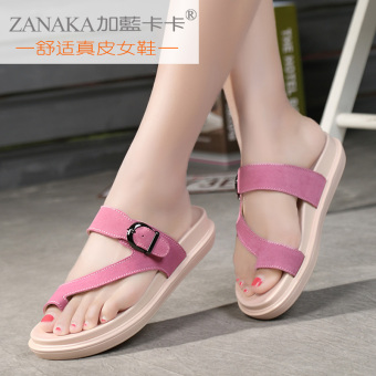 Korean-style female outerwear flat heel sandals (Pink)