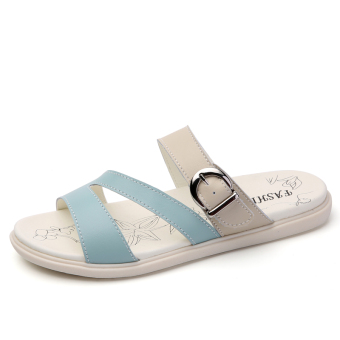 Korean-style female outerwear sandals flat heel sandals shoes (Blue)