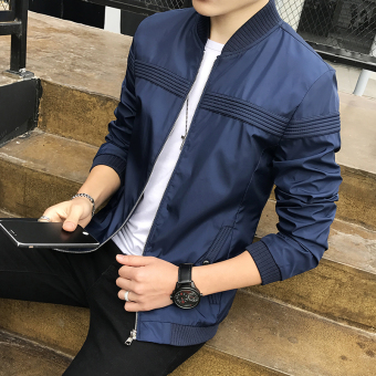 Korean-style men New style baseball clothes men's jacket autumn jacket (Dark blue color)