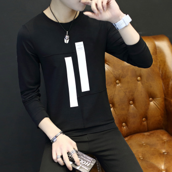 Korean-style men's round neck men's hoodie Spring and Autumn long-sleeved t-shirt (Black)