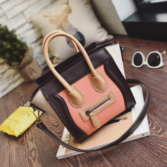 Korean-style New style contrasting color handbag (Coffee with orange) (Coffee with orange)
