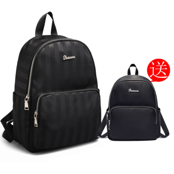 Korean-style nylon female New style canvas school bag backpack (Striped black (new, to send black Shinebager))