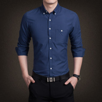 Korean-style Oxford spinning Slim fit business Shirt shirt (Dark blue color/long-sleeved) (Dark blue color/long-sleeved)