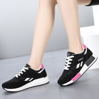 Korean-style Plus velvet Student Travel cotton-padded shoes athletic shoes (1617 black)