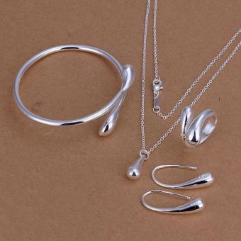 Korean Style Ring Necklace Exquisite Small Droplet Shape Pendant 925 Silver Plated Jewelry Set Nice Gift for Girls-Silver - intl
